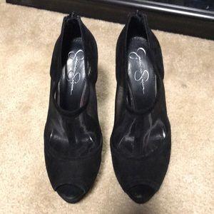 Jessica Simpson heeled peep toe booties